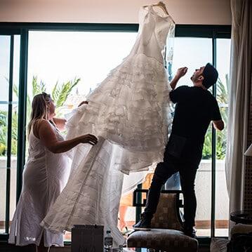vestido novia volantes